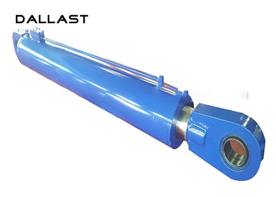 2 Acting Welded Hydraulic Cylinders Piston Rod Stainless Steel Stroke 800mm Painted
