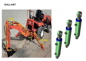 Industrial Piston Type Hydraulic Cylinder Stainless Steel Excavator Boom Arm Bucket