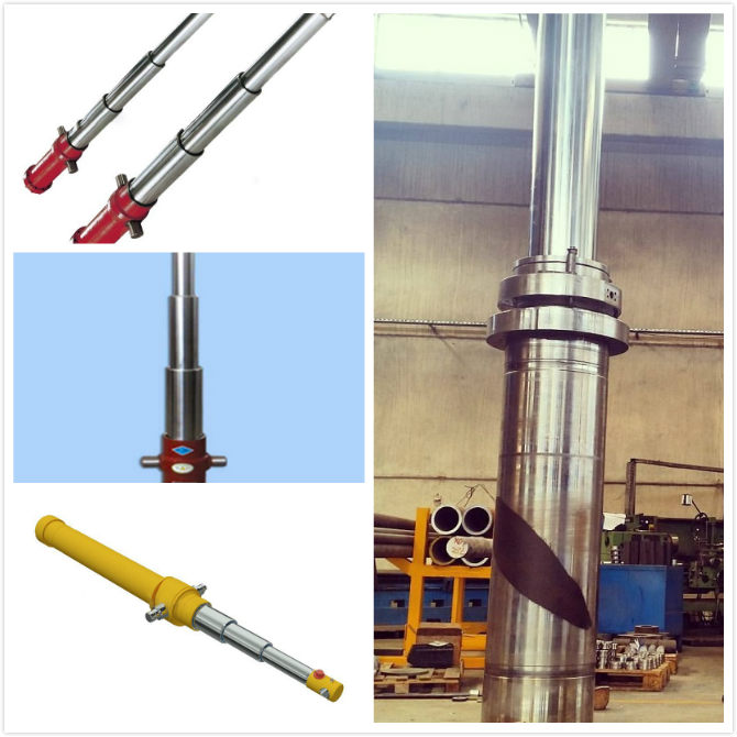 Heavy Duty  Long Stroke Hydraulic Cylinder Hard Chrome Piston Rod Material