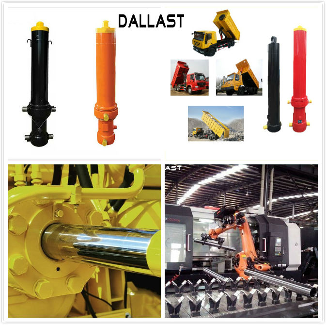 RoHS Dump Trailer Hydraulic Cylinder , Welded Hydraulic Cylinders Plunge Long Stroke