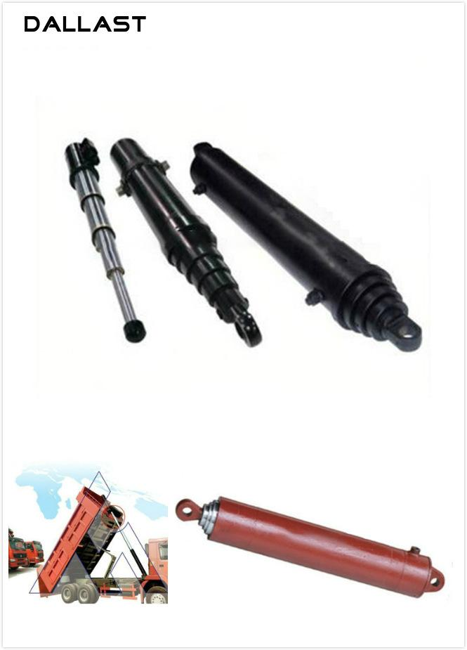 Dump Truck Single Acting Telescopic Hydraulic Cylinders With Heavy Duty Welded Construction