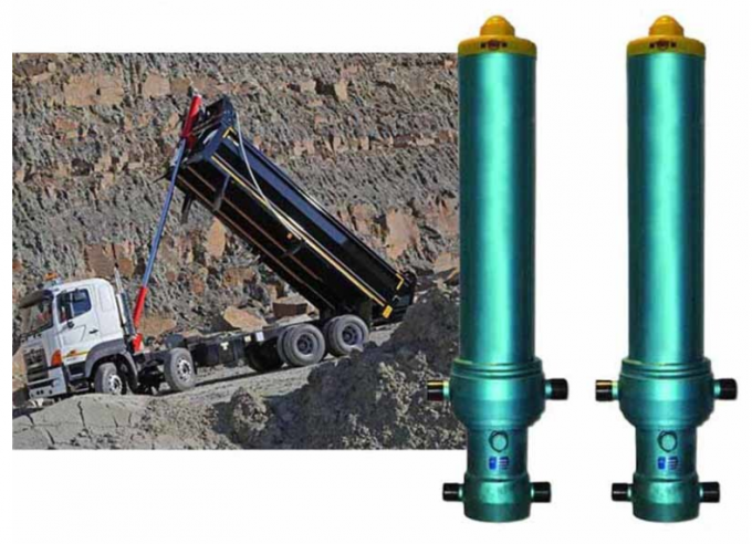 3 Stage Single Acting Telescopic Cylinder , Hydraulic Lift Cylinder For Dump Truck