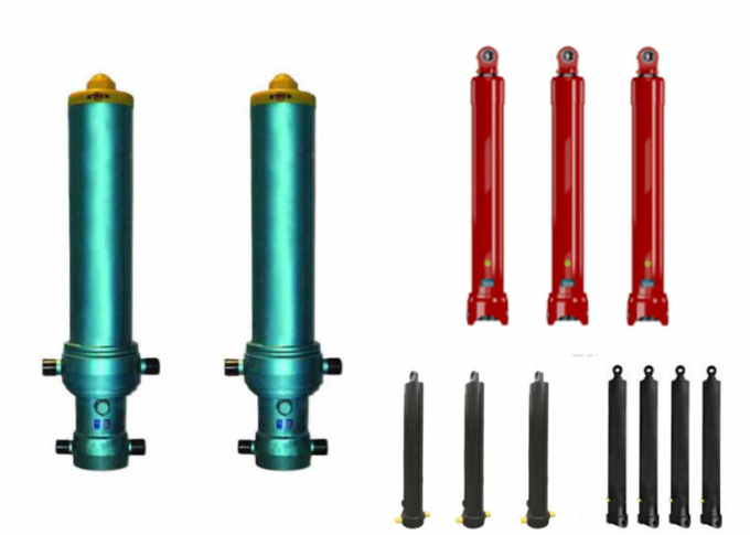 Single Acting Dump Trailer Hydraulic Cylinder , Telescopic Dump Truck Cylinders